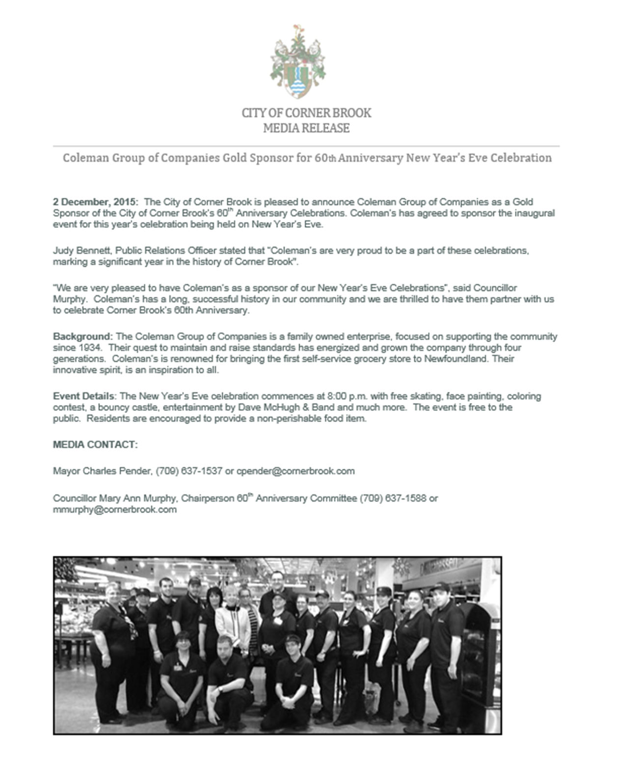 colemans Media release